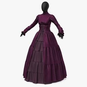 dress retro velvet 3D model