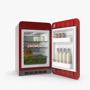 3D retro refrigerator food