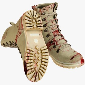 3D realistic boots military coyote model