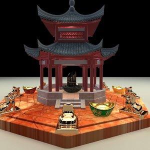 3D chinese pavilion yuanbao