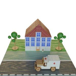 3D wood toy hospital model