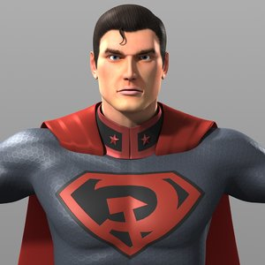 original superman costume red 3D model