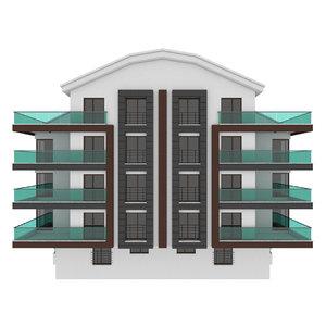 3D simple building double terrace