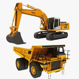 3D crawler excavator truck model