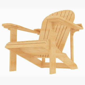 beach adirondack wooden chair 3D