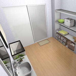 3D model wet dry bathroom