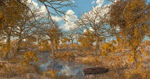 3D forest river autumn model