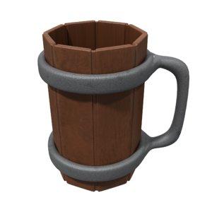 3D medieval pint mug