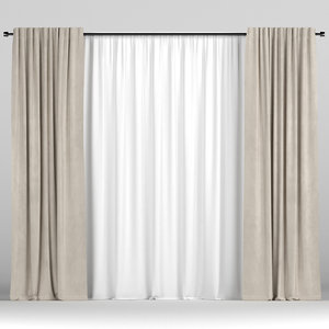 3D model tulle brown curtain