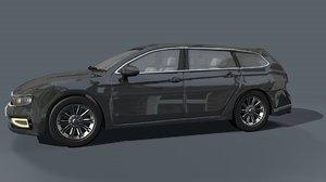 3D generic black estate car vehicle