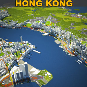 3D hong kong skyline model