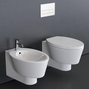 3D wish wall-hung toilet bidet model