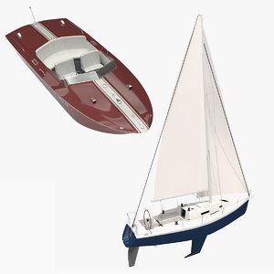 motorboat sailboat 3D model