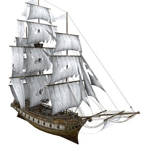 3D clipper sailing ship