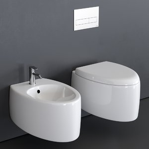 3D moai wall-hung toilet bidet
