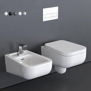 como wall-hung toilet bidet 3D model
