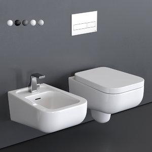 como wall-hung toilet bidet 3D model