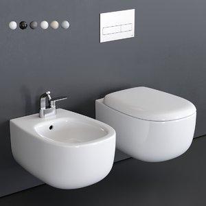 bonola wall-hung toilet bidet 3D