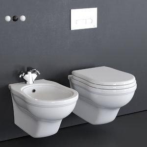 efi wall-hung toilet bidet 3D