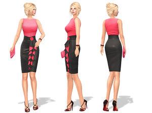 ruffled trim skirt sleeveless 3D model