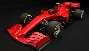 3D f1 generic red racing model