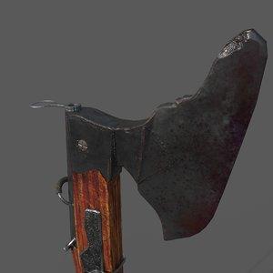 fantasy crossbow axe gun 3D model