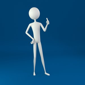 stickman rigged character 3D model