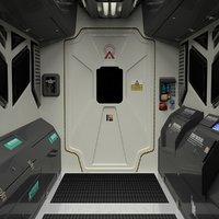3D Spaceship/station interior simplified