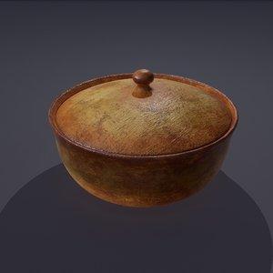 3D terracotta glazed pot lid