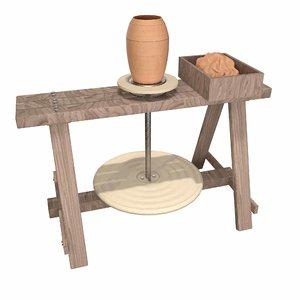 medieval pottery wheel 3D model