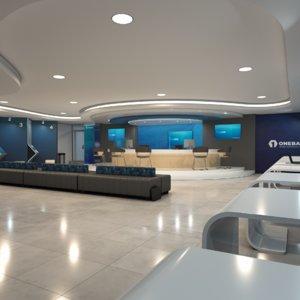 bank scene modern building 3D model
