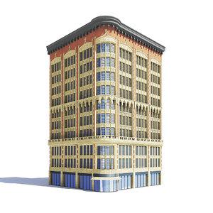 brick stone narrow building 3D