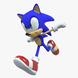 sonic hedgehog character rigged 3D