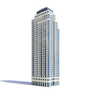 3D model tall apartment building