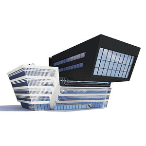 3D modern library building model
