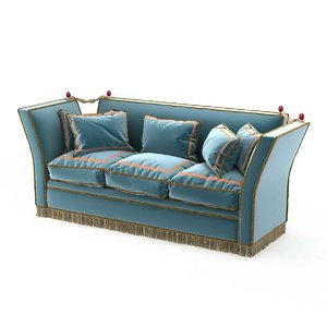 sofa 1940s french blue 3D