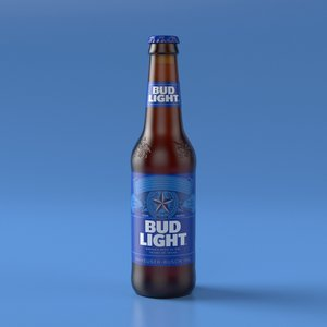 3D budweiser light beer bottle