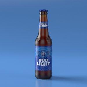 3D budweiser light beer bottle