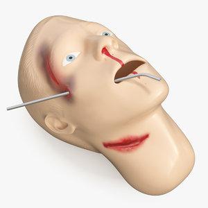 injured firstaid mannequin head 3D model