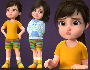 3D cartoon cute child -