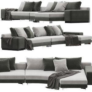 minotti daniels sofa 3D model