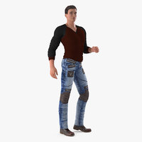 Man in City Style Clothes Standing Pose