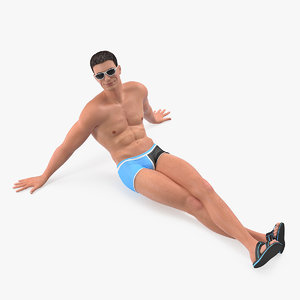 man swimwear sitting pose 3D model