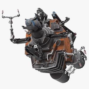 3D sci fi space debris