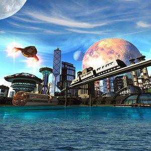 3D city scene