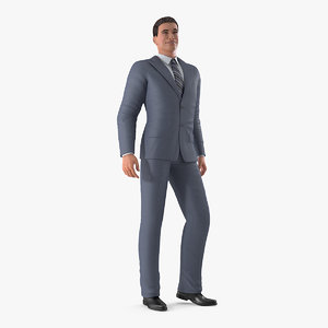 3D model businessman standing pose business man