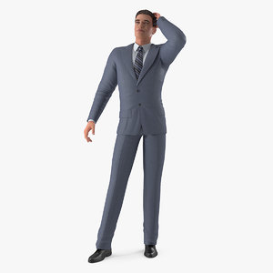 3D model man business suit standing