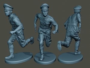 german officer ww2 run 3D model
