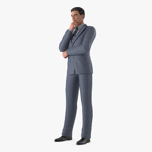 3D model businessman thinking pose man suit