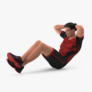fitness trainer doing crunches 3D model